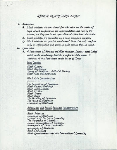 The Black Student Movement's 23 Demands: December 1968