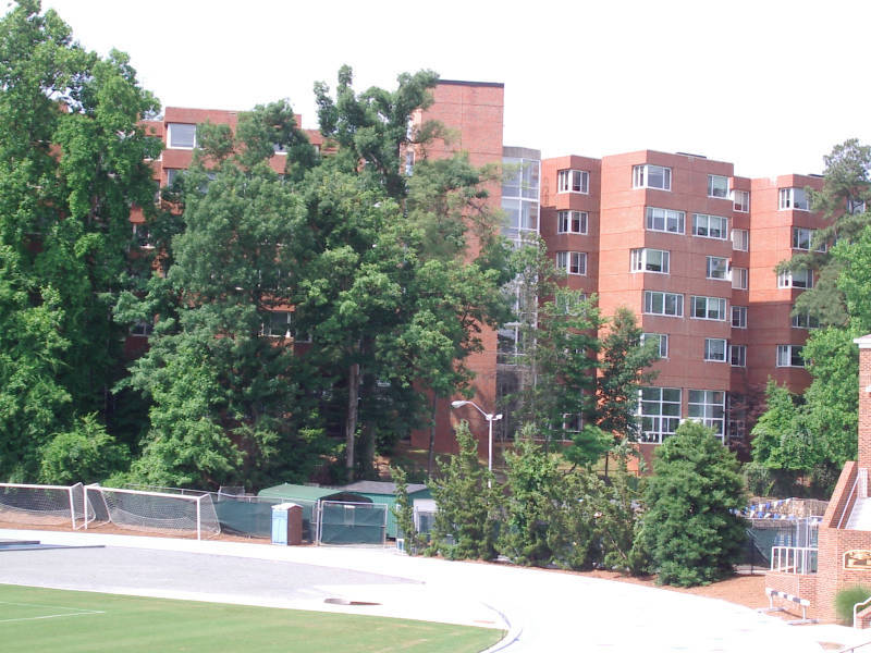 Carmichael Residence Hall, as seen from Fetzer Field. From https://museum.unc.edu/exhibits/show/names/item/1442