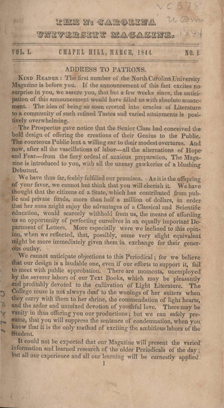 """Inaugural issue of the """"University Magazine"""", March 1844"""