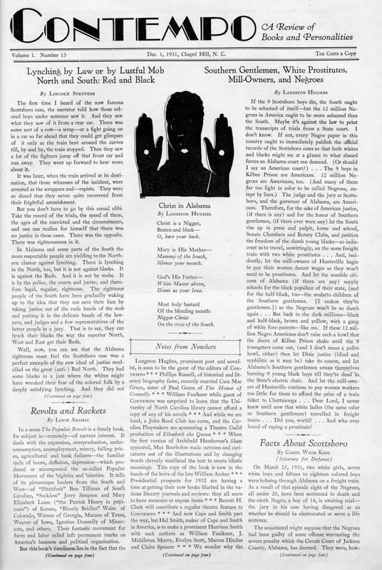 "Langston Hughes, ""Christ in Alabama,"" Contempo, 1931"