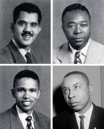 The first black law students in 1951 (clockwise): Harvey Beech, James Lassiter, Floyd McKissick, and Kenneth Lee