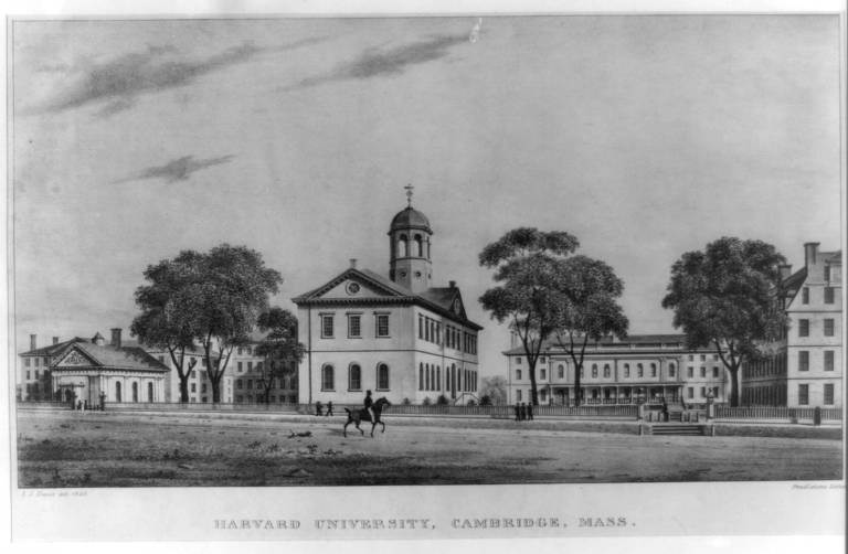 View of Harvard College, 1828