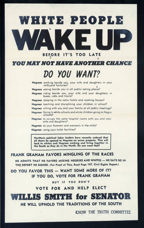 Flyer attacking Frank Porter Graham for views on race relations, 1950