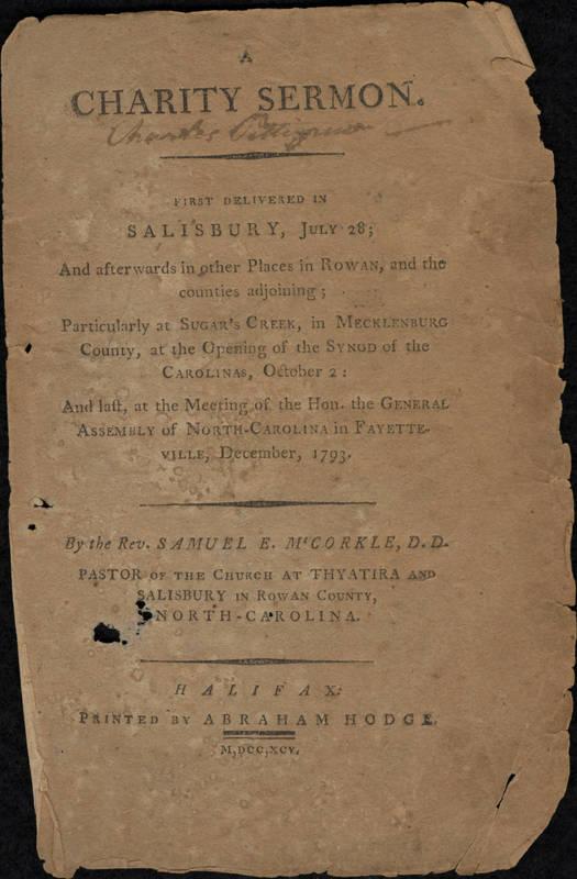 Title page of sermon by Samuel McCorkle, 1793