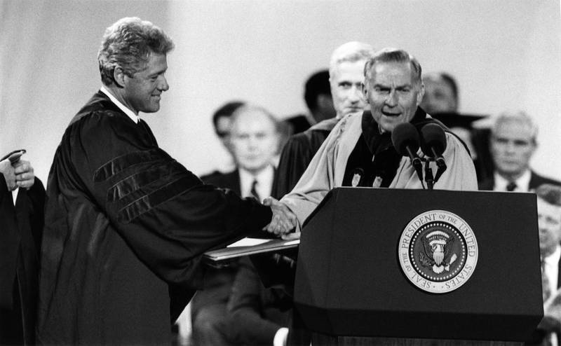 Paul Hardin (1931- ) (right) with President Bill Clinton (1946- )