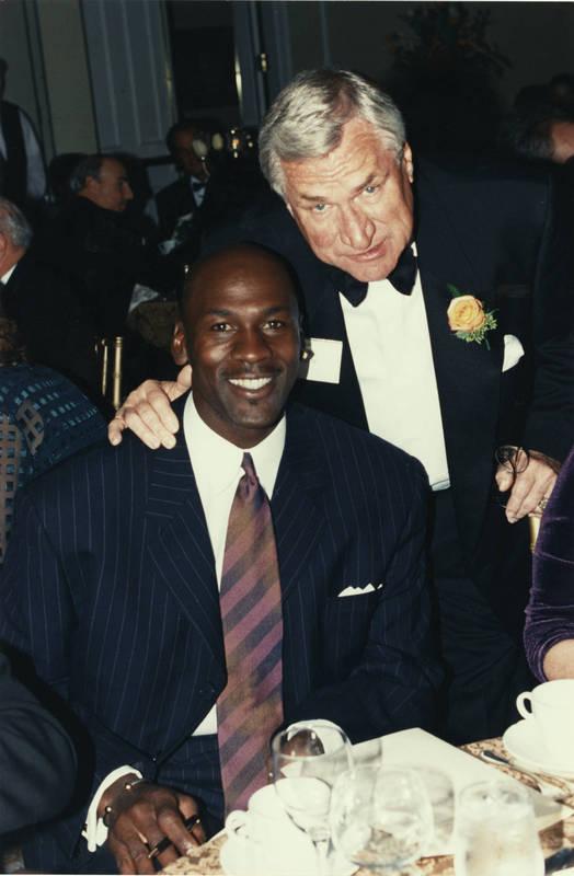 Dean E. Smith (1931- ) (right) and Michael Jordan (1963- )