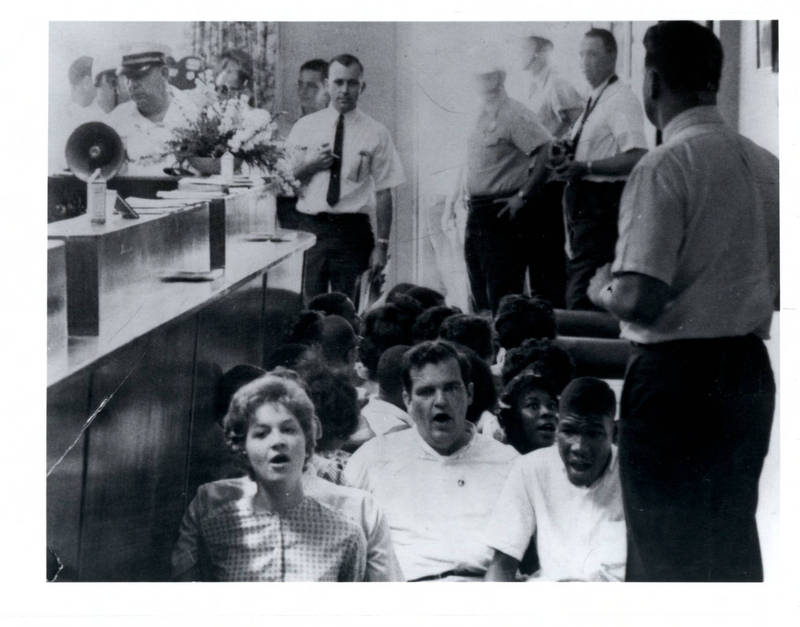 Black and white sit-in demonstrators, 1963