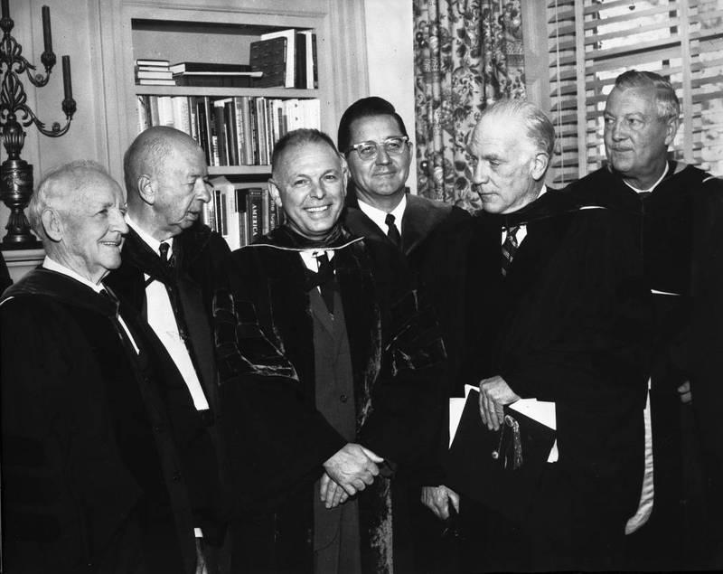 Frank Porter Graham (1886-1972), Robert B. House (1892-1987), Joseph Carlyle Sitterson (1911-1995), William C. Friday (1920- ), Gordon Gray and Dan K. Moore