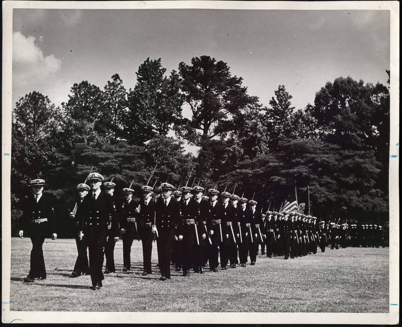 Naval cadets on campus, 1944