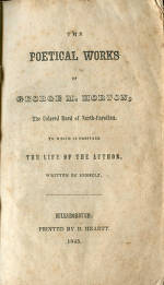 "Title Page of ""The Poetical Works of George M. Horton"", 1845"