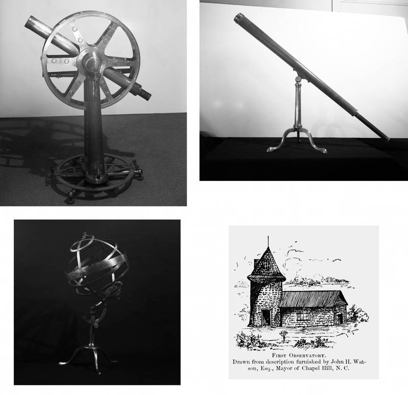 Observatory and instruments purchased by Joseph Caldwell (1773-1885) in Europe