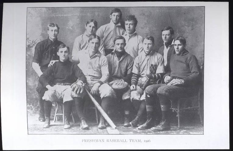 Frank Porter Graham, left front, with 1906 freshman baseball team