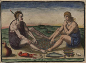"Theodor de Bry, ""Native American Man and Woman Eating"", 1590"