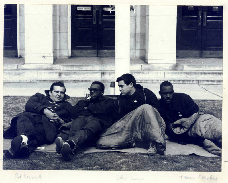 Patrick Cusick '63, LaVert Taylor, John Dunne '65, and James Foushee (left to right), fasting for Holy Week, March 1964